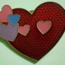 Hearts Valentine Pin Enamel Goldtone Metal gift creations vintage