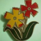 Flower Pin Red Yellow Enamel Goldtone Metal Vintage
