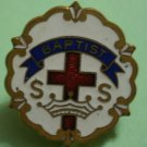 Baptist S S Pin Crown Cross Enamel Goldtone Metal Vintage Broadman Supplies