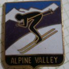 Alpine Valley Pin Ski Resort Enamel Goldtone Metal Vintage Japan