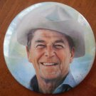 Ronald Reagan Button Pin Vintage 1980s Cowboy 2.5in