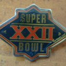 Super Bowl XXII Pin 22 Vintage 1988 NFL Enamel Silvertone Metal Peter David Inc