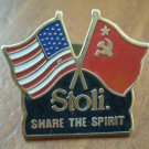 US Russian Flag Pin Stoli Vodka Share The Spirit Stolichnaya American