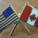 USA Canada Flag Pin American Canadian Enamel Goldtone Metal Pinnacle Designs