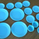 Marx Sindy Doll Plate China Set Plastic Turquoise 16 Lot Service for 4 Hong Kong