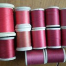 Belding Corticelli Wooden Spools Thread Vintage Lot 12 Shades Red Mercerized Cotton