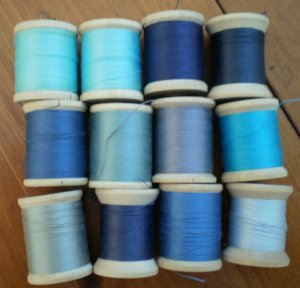 Belding Corticelli Wooden Spools Blue Thread Vintage Lot 12 Shades Mercerized Cotton