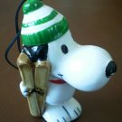 Snoopy with Skis Ornament Ceramic Vintage 1965 Christmas Skiing Peanuts United Feature Syndicate