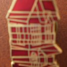 Vintage Pin Red House Brownstone Enamel Goldtone Metal
