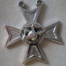 Pendant US Marine Corps Cross Eagle Earth Anchor Silvertone Metal HLP