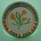Election Pin California Direct Primary San Diego County 2008 Enamel Goldtone Metal Bullseye Custom