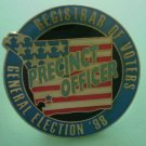 General Election Pin 1998 Precinct Officer Registrar of Voters Enamel Goldtone