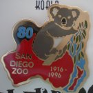 San Diego Zoo 80th year Celebrate Australia Koala Enamel Goldtone Metal
