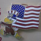 Flag Pin Sam Olympic Eagle 1984 Cloissone Goldtone Metal