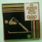 Winter Olympics Pin Skiing Enamel Goldtone Metal