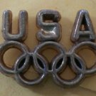 USA Olympics Pin Brasstone Metal Rings