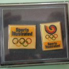 Sports Illustrated Olympics Pin Boxed Set/2 Enamel Goldtone Metal
