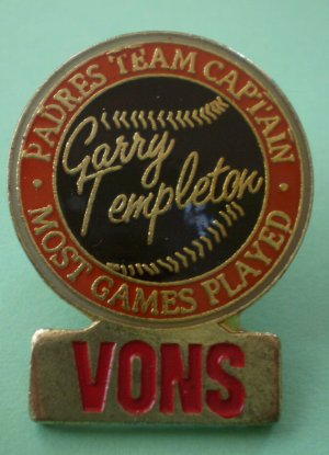 Vons Pin Garry Templeton Padres Team Captain Most Games Played