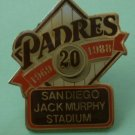 San Diego Padres Pin 20 1969 1988 Jack Murphy Stadium Enamel Goldtone Metal
