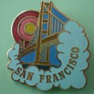 San Francisco Pin Cloud Bridge Sun Goldtone Metal California