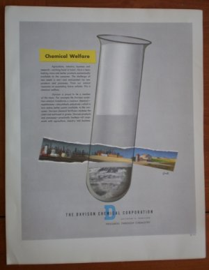 Vintage Ad Davison Chemical Corporation 1948 Chemical Warfare Test Tube