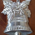 Christmas Bell Ornament Silvertone Metal