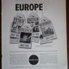 Vintage Ad Pan Am Thinking Europe 1960s Panam Jet Fares