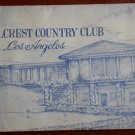 Vintage Golf Scorecard Hillcrest Country Club Los Angeles