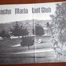 Vintage Golf Scorecard Rancho Maria Golf Club CA Santa Maria