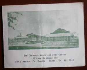 Vintage Golf Scorecard San Clemente Municipal Golf Course California