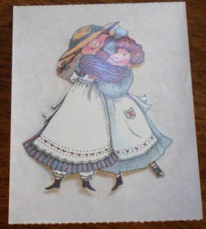 R A Lang Stickers Best Friends Hugging Girls Lot 2 Vintage 2in