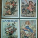 D M Ferry Seeds Labels Decals Lot 4 Reproduction Vintage Flowers