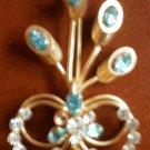 Vintage Brooch Pin Blue Clear Rhinestones Goldtone Metal Broach