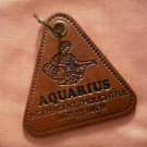 Aquarius Leather Key Chain Ring Zodiac Vintage Keychain