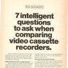 Vintage Ad RCA SelectaVision Video Cassette Recorder Questions 1978 2 pages