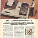 Vintage Ad Texas Instruments TI Programmable 59 Calculator 1978