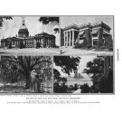 Mississippi State Capitol Mansion Aaron Burr Oaks Biloxi Plate Print 1936 Book