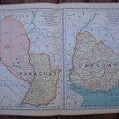 Paraguay Uruguay Map Rand McNally Popular Plate Print 1936 Book