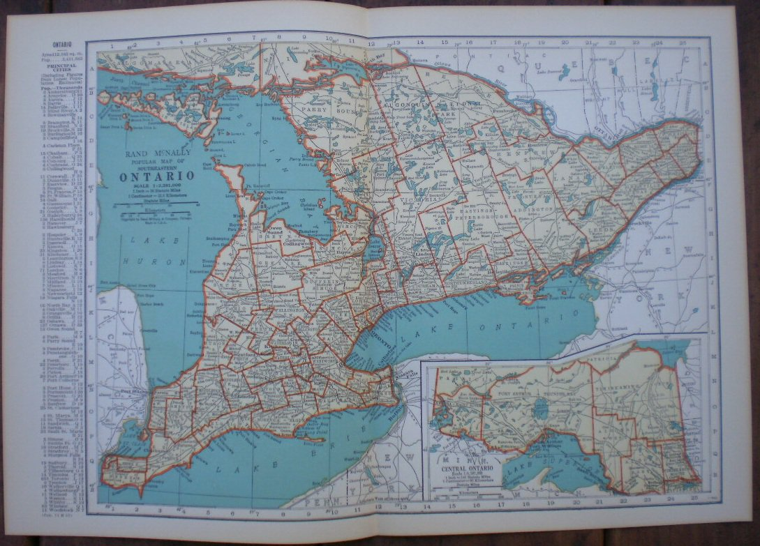 Southeastern Ontario Map Rand Mcnally Popular Plate Print
