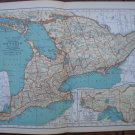 Southeastern Ontario Map Rand McNally Popular Plate Print 1936 Book