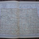 North Dakota Map Rand McNally Popular Plate Print 1936 Book