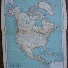 North America Map Rand McNally Popular Plate Print 1936 Book