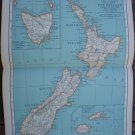 New Zealand Map Rand McNally Popular Plate Print 1936 Book