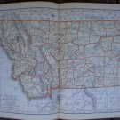 Montana Map Rand McNally Popular Plate Print 1936 Book