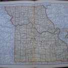 Missouri Map Rand McNally Popular Plate Print 1936 Book