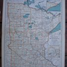 Minnesota Map Rand McNally Popular Plate Print 1936 Book