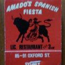 Vintage Matchbook Amado Spanish Fiesta Restaurant Sydney Australia Matches