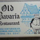 Vintage Matchbook Old Bavaria Restaurant Sherman Oaks California Matches Matchbox