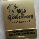 Vintage Matchbook Gold Old Heidelberg Restaurant Hoppe's Van Nuys CA Matches