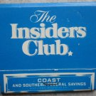 Vintage Matchbook Insiders Club Coast Southern Federal Savings Matches